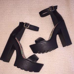 Black platform ankle strap heels
